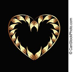 Golden heart with leafs vector