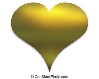 Golden heart with shades on white background