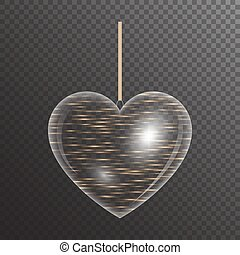 Golden heart with sparkles - Shiny transparent heart with ...