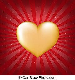 Golden Heart With Sunburst