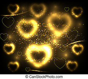 Golden hearts background. Vector illustration