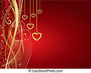 Golden hearts - Decorative Valentines background with golden...