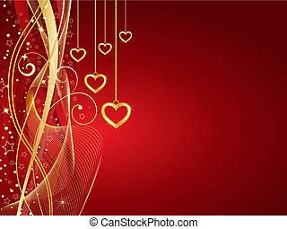 Golden hearts - Decorative Valentines background with golden...
