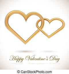 Golden hearts linked together - Two golden hearts linked ...