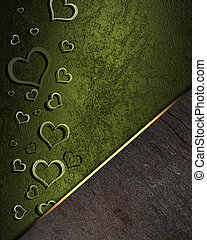 Golden hearts on a green background, with a wooden nameplate