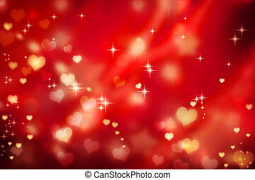 Golden hearts on red background