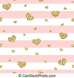 Golden hearts pink stripes seamless pattern