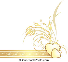 Golden hearts with decorative sprig on the ribbon. Vector...