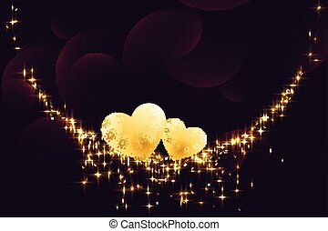 golden hearts with sparkles on dark background