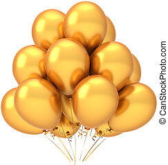 Party balloons golden. Modern luxury birthday celebrate decoration. Joyful happiness positive emotion. This is a detailed three-dimensional 3D render (Hi-Res). Isolated on white background