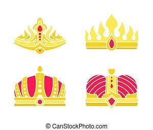 Golden Heraldic Crowns Inlaid with Gems Vector