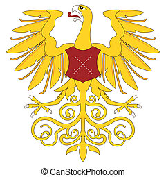 Golden heraldic eagle