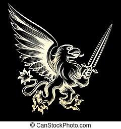 Golden heraldy gryphon with sword