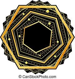 Golden hexagon on black backdrop. Vector illustration.