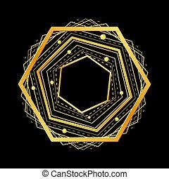 Golden hexagon on black background. Vector illustration.