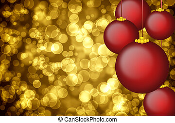 Golden holiday background with christmas ornaments