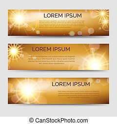 Golden horizontal banners set