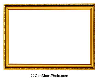 golden horizontal frame isolated on white