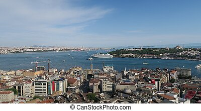 Golden Horn at Bosphorus and Istanbuls Oldtown Sultanahmet with Topkapin Palace, Hagia Sophia - Turkey