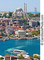 Golden Horn in Istanbul - Panoramic view of Golden Horn from...
