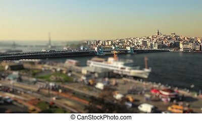 golden horn istanbul turkey - miniature effect city life...