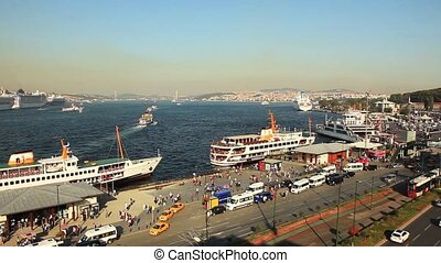 golden horn istanbul turkey - time lapse the busy city...