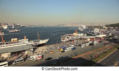 the busy city traffic at golden horn Istanbul turkey