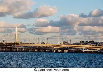 Golden Horn metro bridge and Ataturk bridge in the view