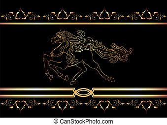Golden horse - Background with golden horse
