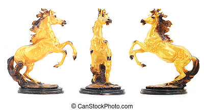 Golden Horse Statue set Isolate