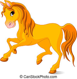 Golden horse - Vector Illustration of skipping beautiful...
