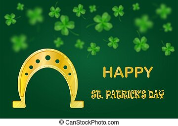 Golden horseshoe and clover on green background.