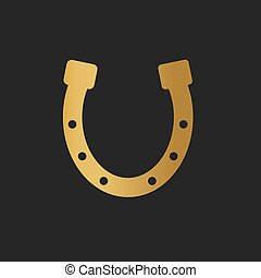 golden horseshoe coin- vector illustration