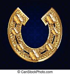 Golden horseshoe on a dark background