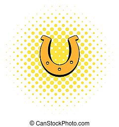 Golden horseshoes luck symbol icon, comics style