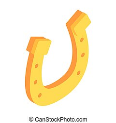 Golden horseshoes luck symbol isometric 3d icon