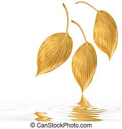 Golden Hosta Leaf Abstract