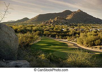 Golden hour Arizona landscape, Scottsdale, Phoenix area,USA