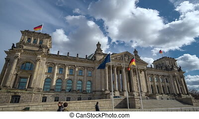 Golden Hour Hyperlapse Time Lapse of Reichstag Building, Berlin, Germany