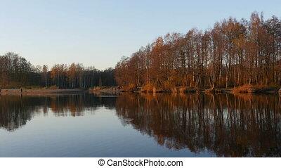 scenic river landscape autumn golden hour
