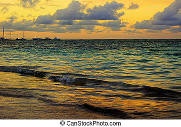 Golden hour sunset on the sea