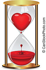 Golden hourglass with heart. Vector
