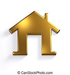 Golden House. 3D Render Icon Illustration