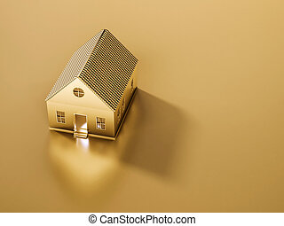 Golden house and land, 3d rendered