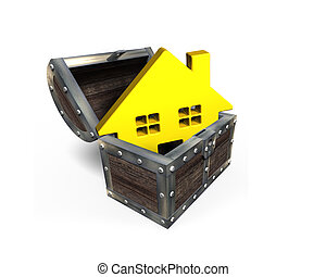 Golden house in treasure chest, 3D rendering