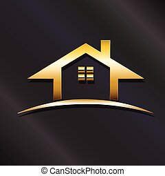 Golden house real estate logo. Vector graphic design