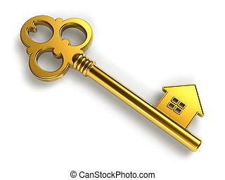 Golden house-shape key - Real estate concept: golden house-...