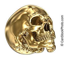 Golden human skull over white , 3D illustration