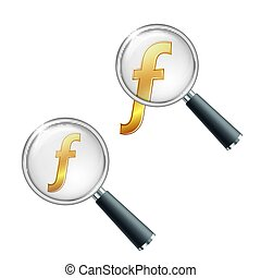 Florin currency vector icon, mathematical function symbol sign, Hungarian Forint sign. Golden currency symbol with magnifying glass.