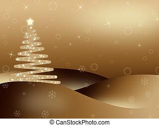 Golden iluminated Christmas background